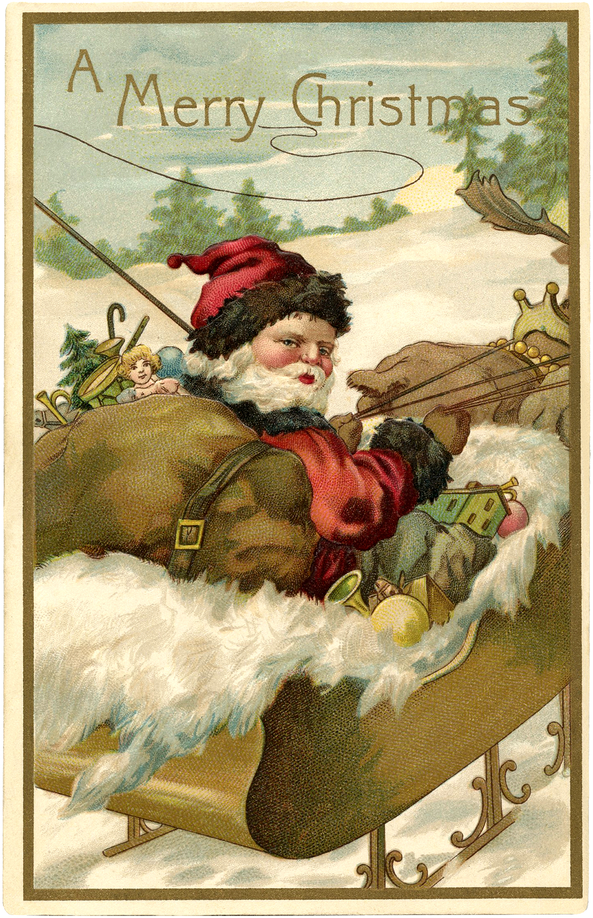 Fantastic Vintage Santa with Sleigh Image! - The Graphics ...