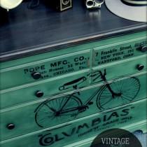 vintage-bike-advertising-dresser-makeover-with-overlay