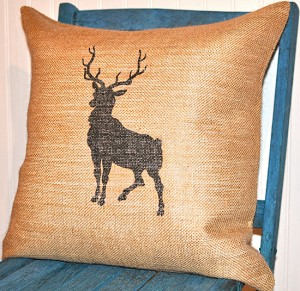 19 - Burlap Reindeer Pillow