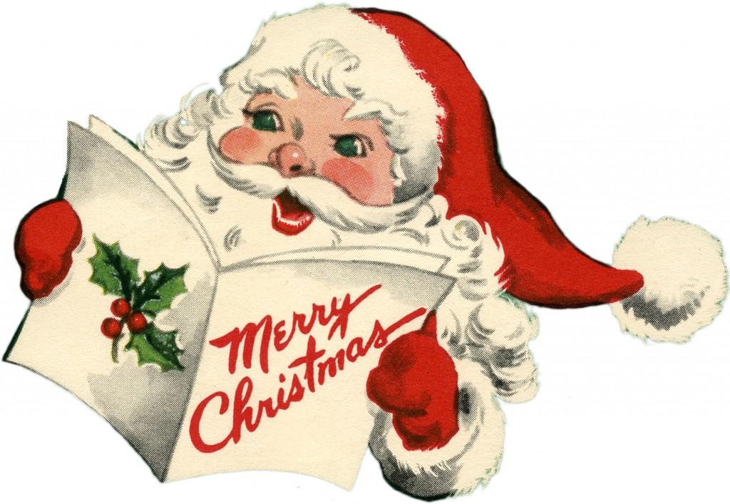 Cheerful Retro Santa Picture - Cuteness! - The Graphics Fairy
