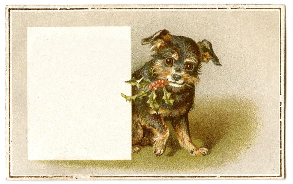 Vintage Christmas Dog Gift Tag