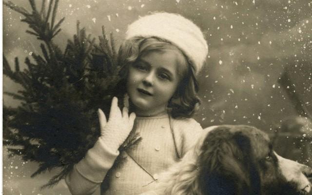 Vintage Christmas Girl with Dog Photo!