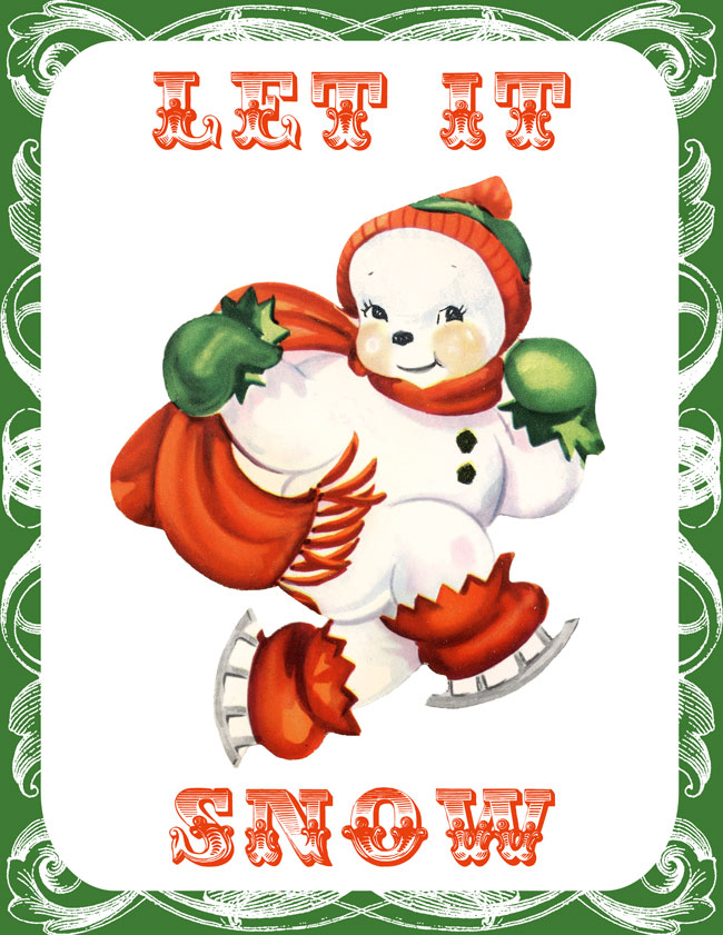 Retro Santa and Snowman Printables // The Graphics Fairy