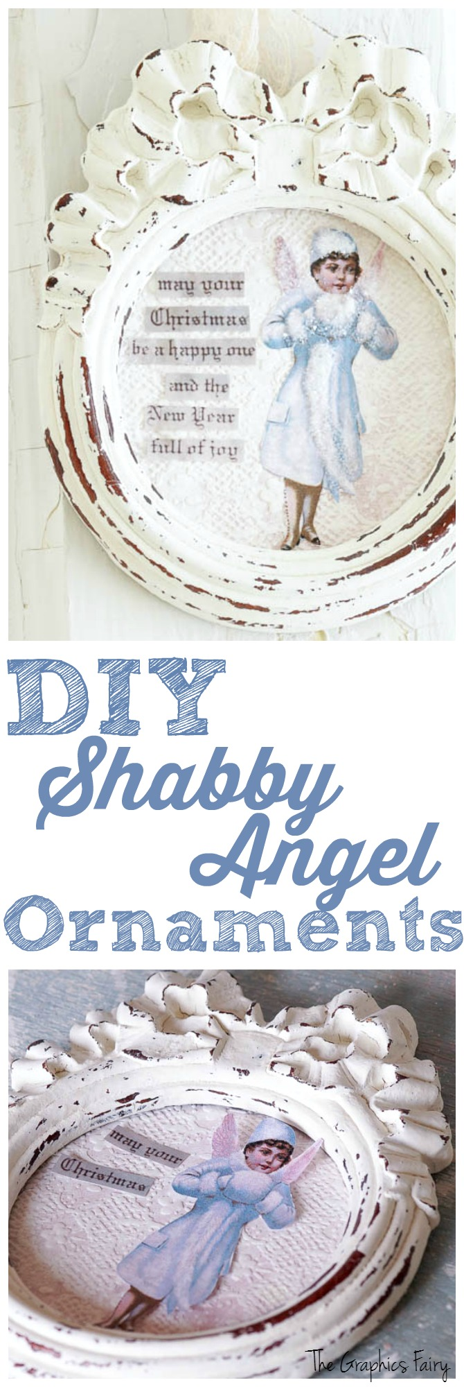 DIY Shabby Angel Ornaments - The Graphics Fairy