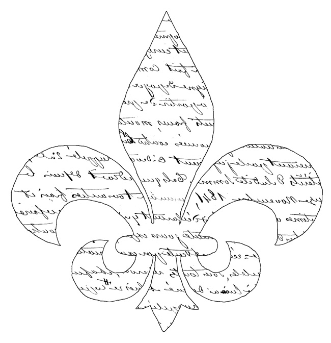 Script Fleur de Lis Transfer  //  The Graphics Fairy