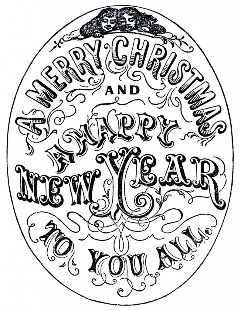 old time new year christmas typography our final image from our black and white new year clipart