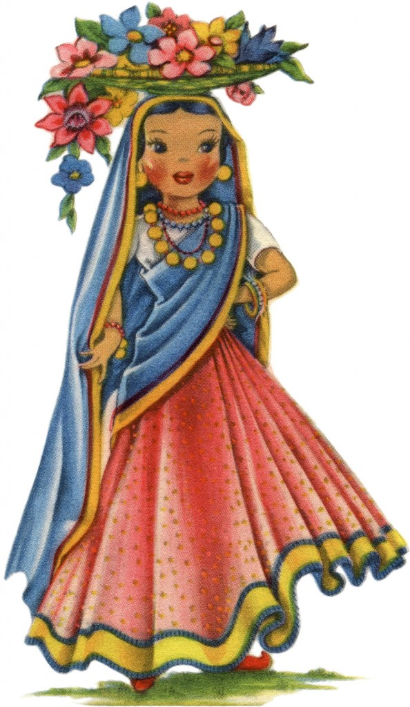 Retro India Doll Image