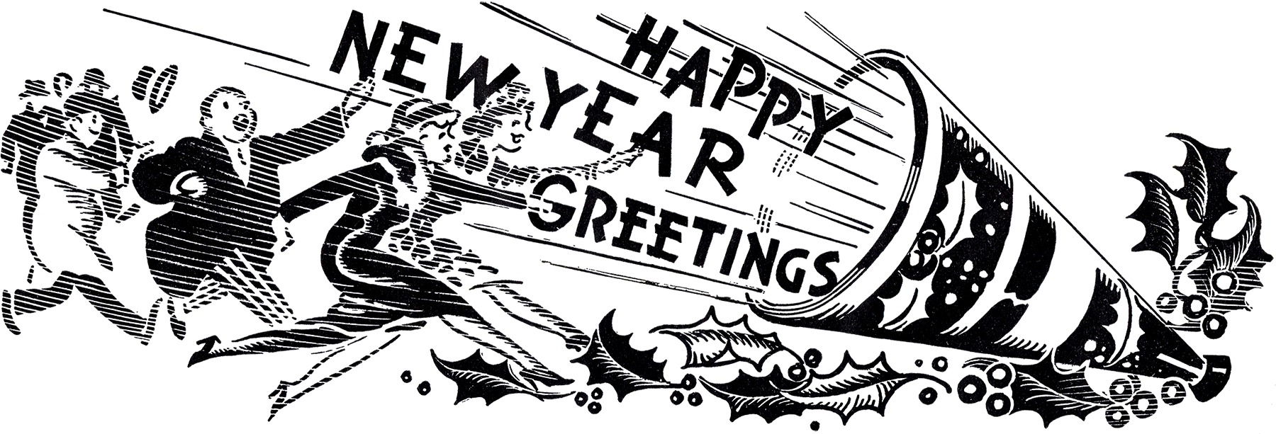 Retro New Year Greeting The Graphics Fairy