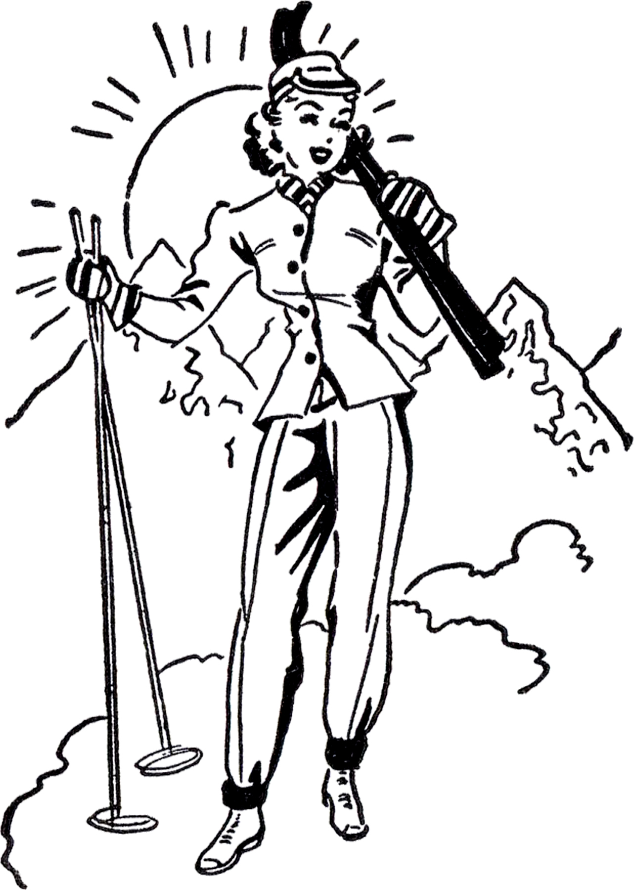 Retro Ski Lady Image The Graphics Fairy