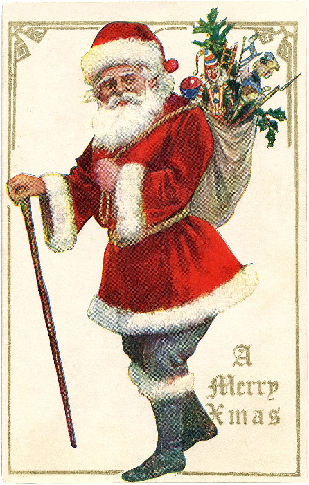 Antique Santa with Cane Image - The Graphics Fairy