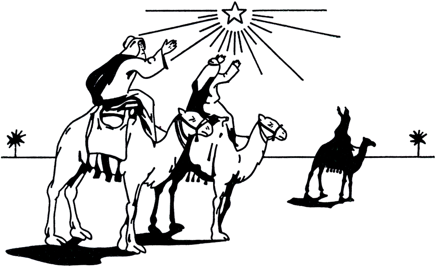Black and White Three Wise Men Clip Art - Backgrounds