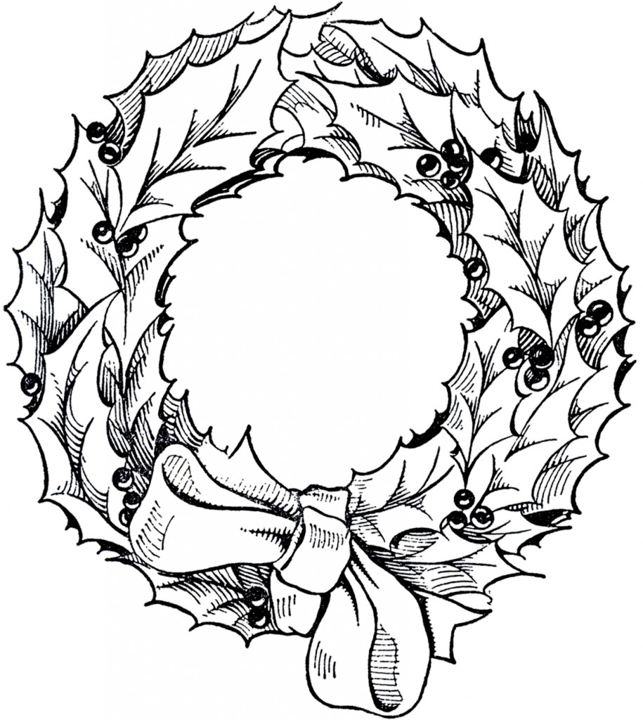 Vintage christmas wreath graphic the graphics fairy for Christmas wreath coloring pages