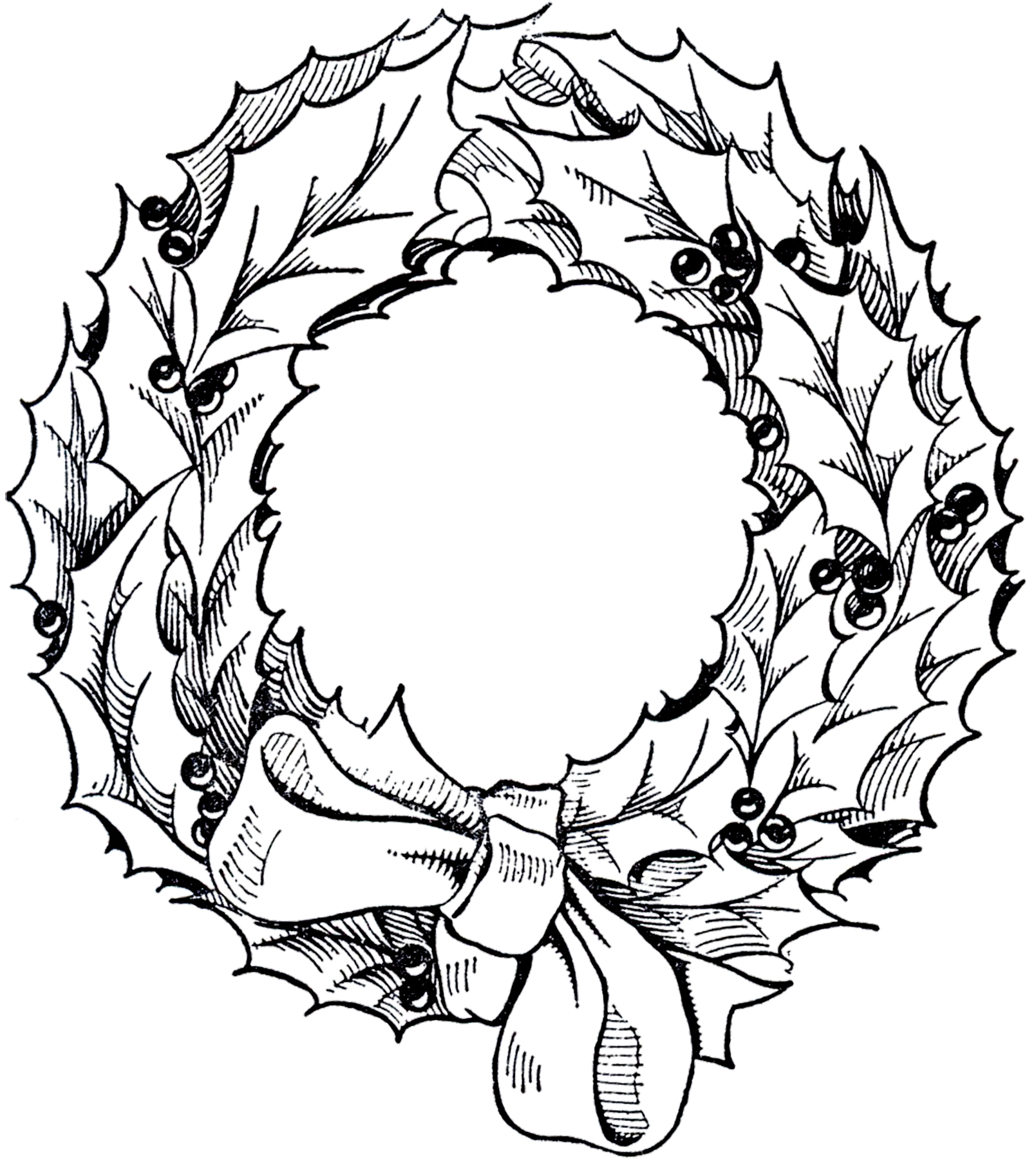 Drawings Of Christmas Wreaths.Vintage Christmas Wreath Graphic The Graphics Fairy