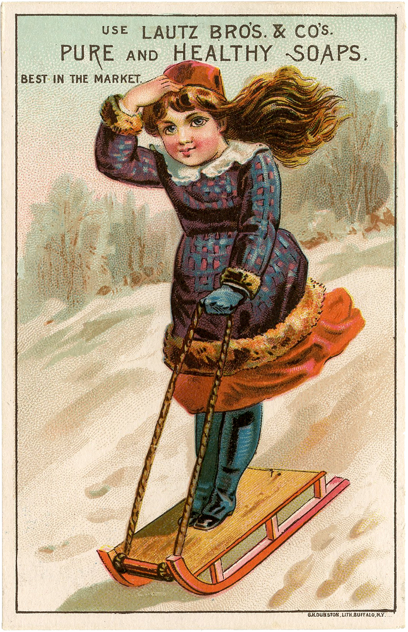 1000 Images About Retro Vintage On Pinterest: Vintage Girl Sledding Image