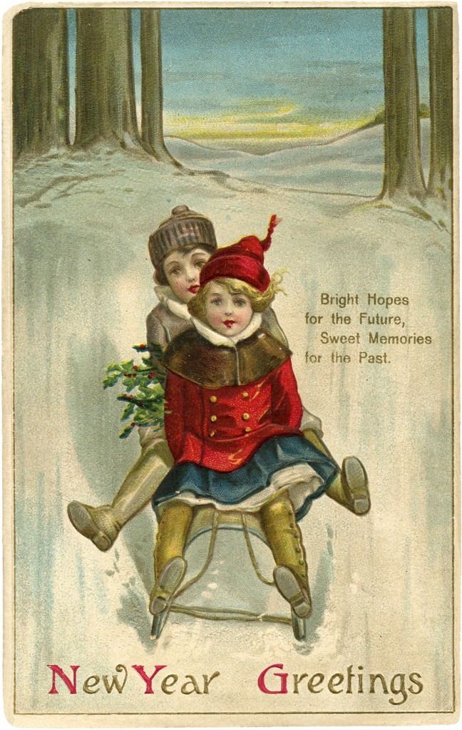 Vintage New Year Sled Image Cute The Graphics Fairy