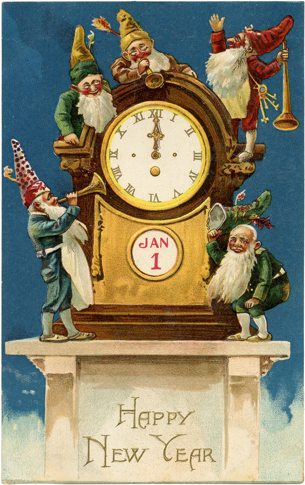 vintage new years eve food postcards