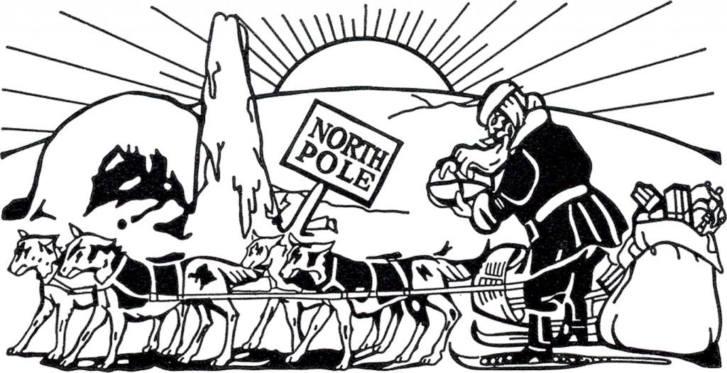Vintage North Pole Santa Sleigh Image