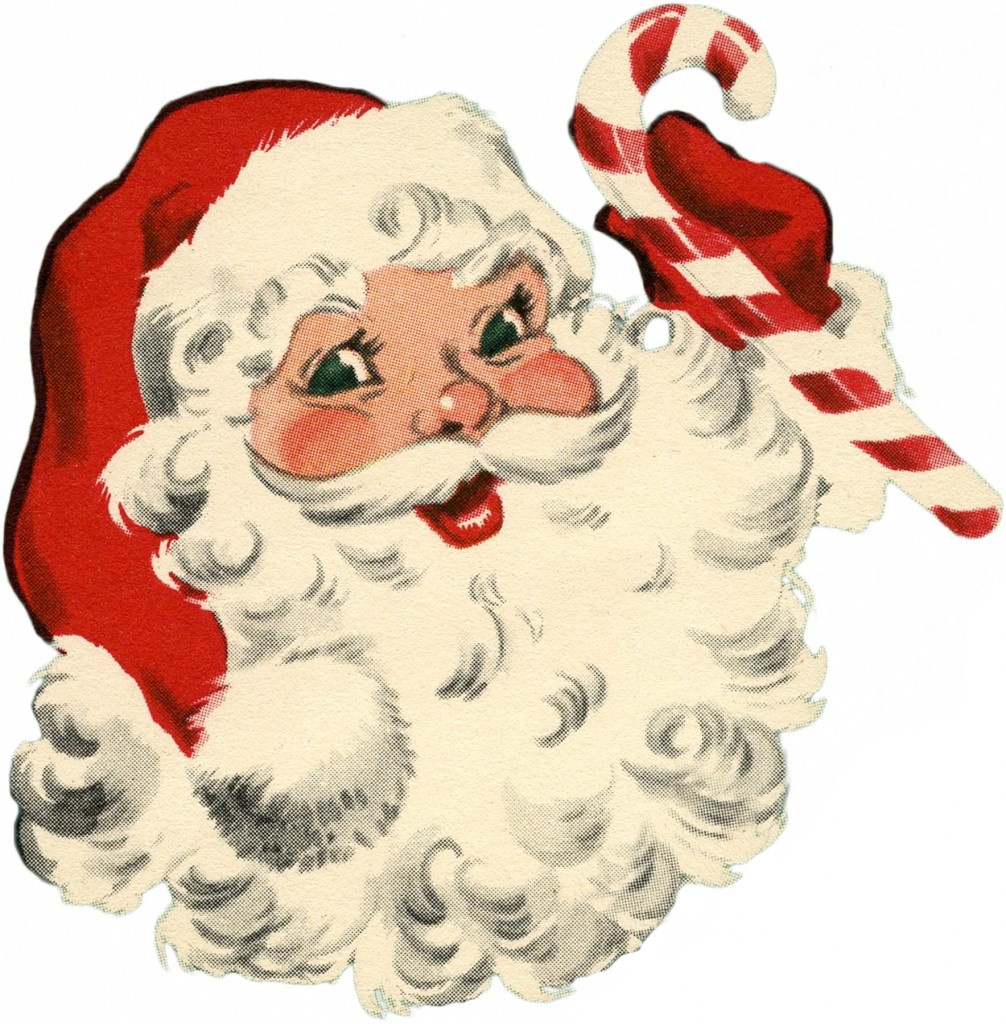 Vintage Santa with Candy Cane Image
