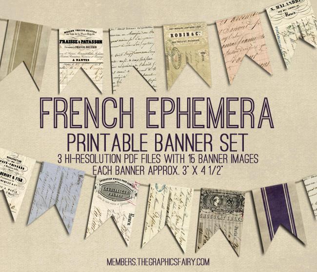 French Ephemera Bunting