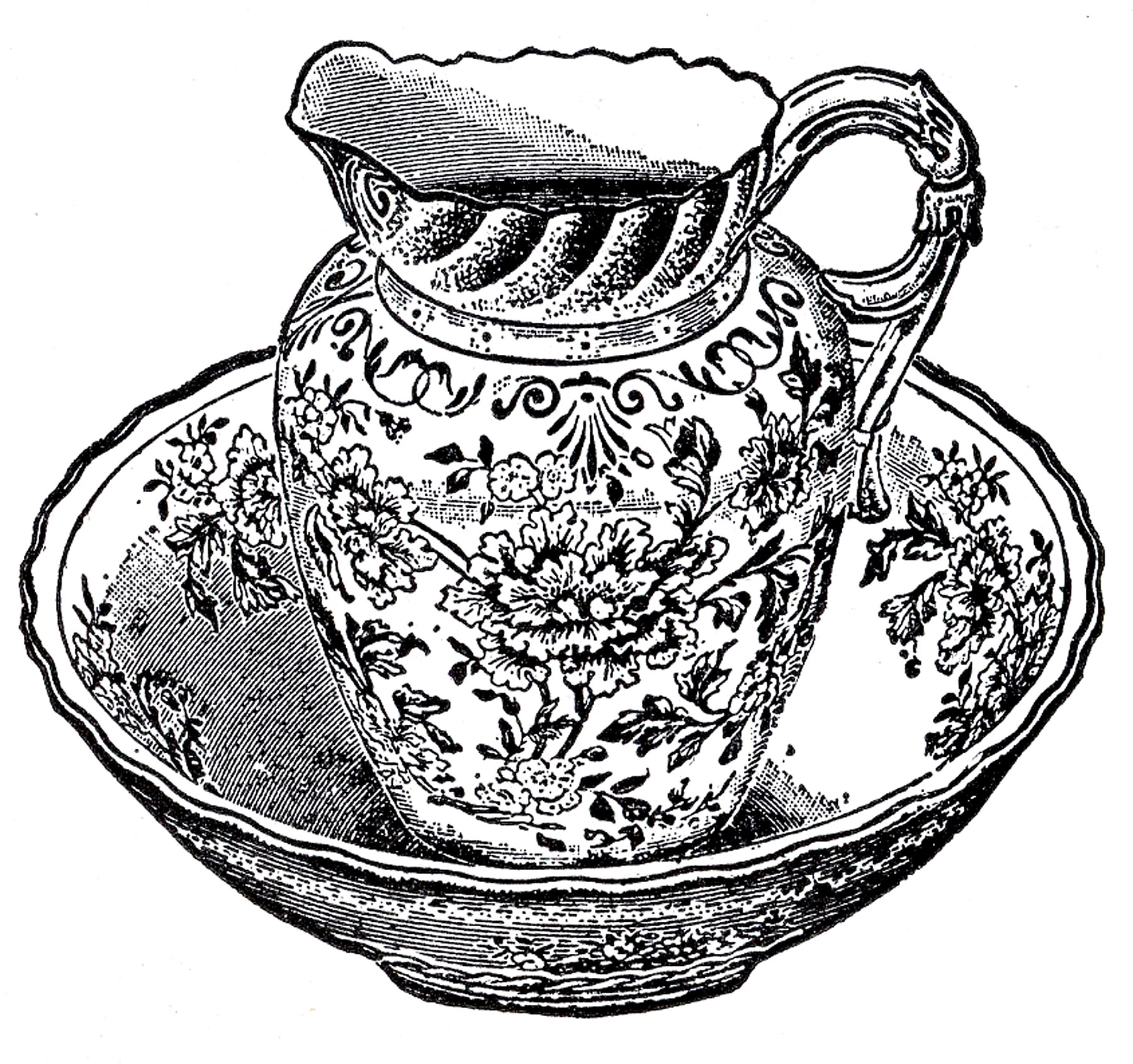 Antique Pitcher And Bowl Image