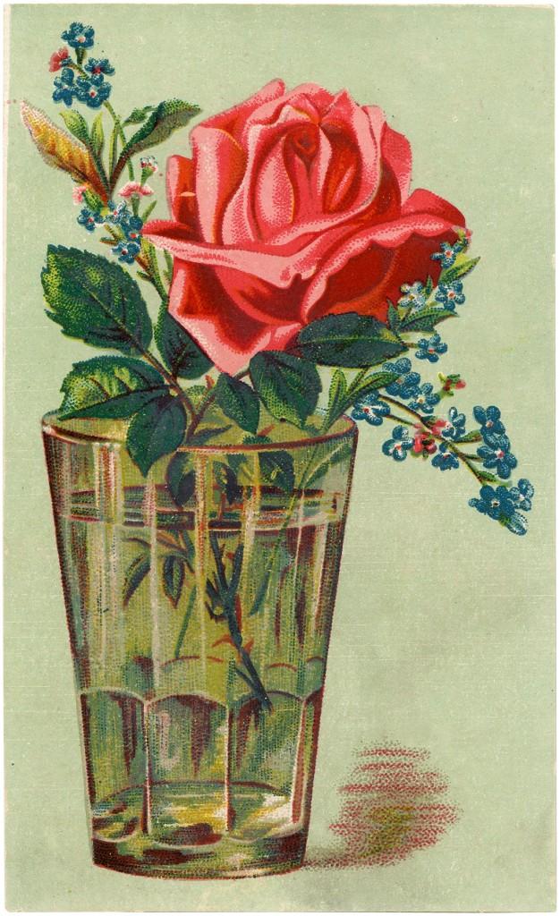 Free Digital Download Rose in Glass