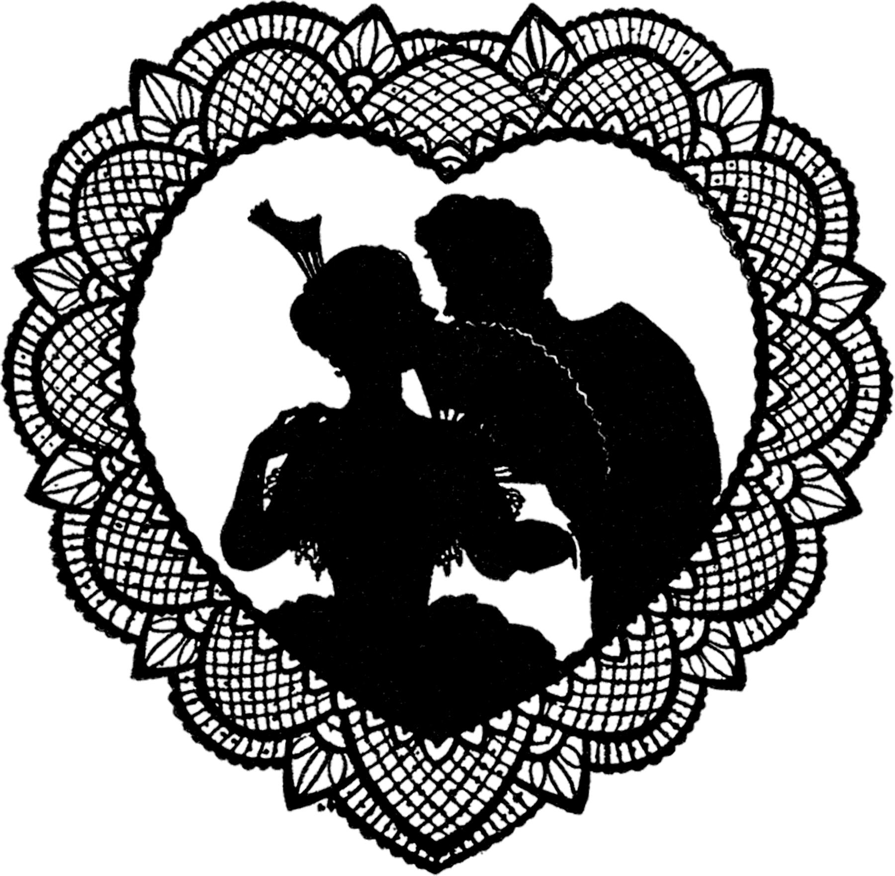 pretty lace valentine silhouette   the graphics fairy