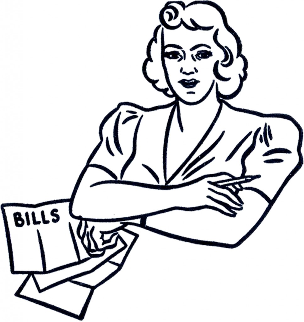 Retro Bills Lady Clip Art