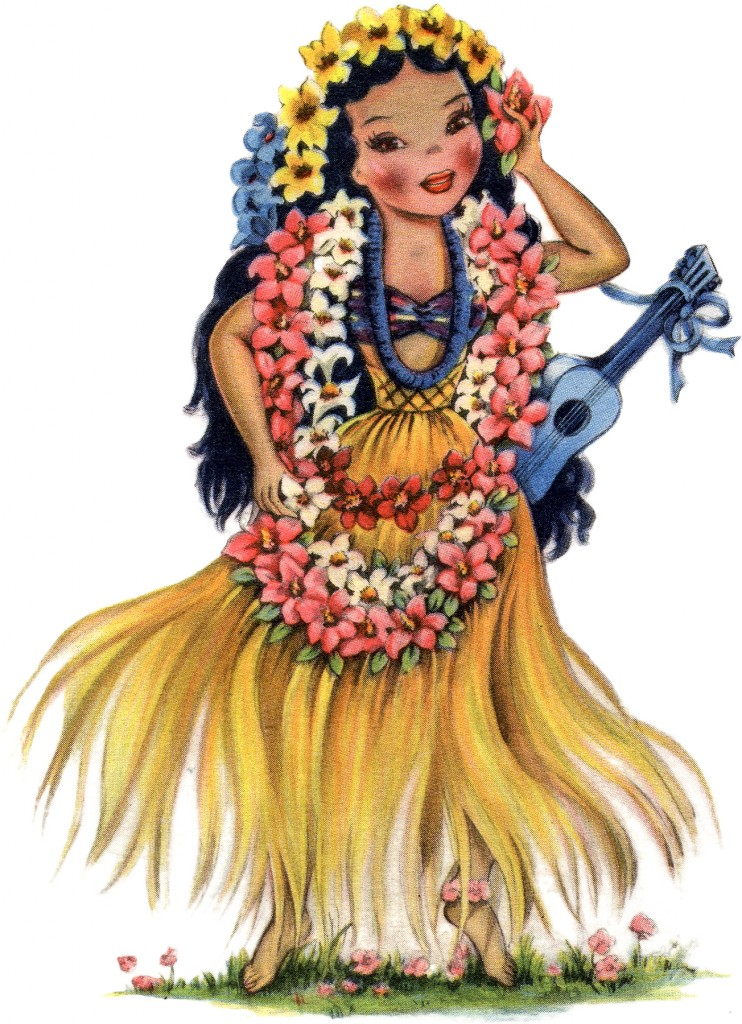 Retro Hawaiian Doll Image