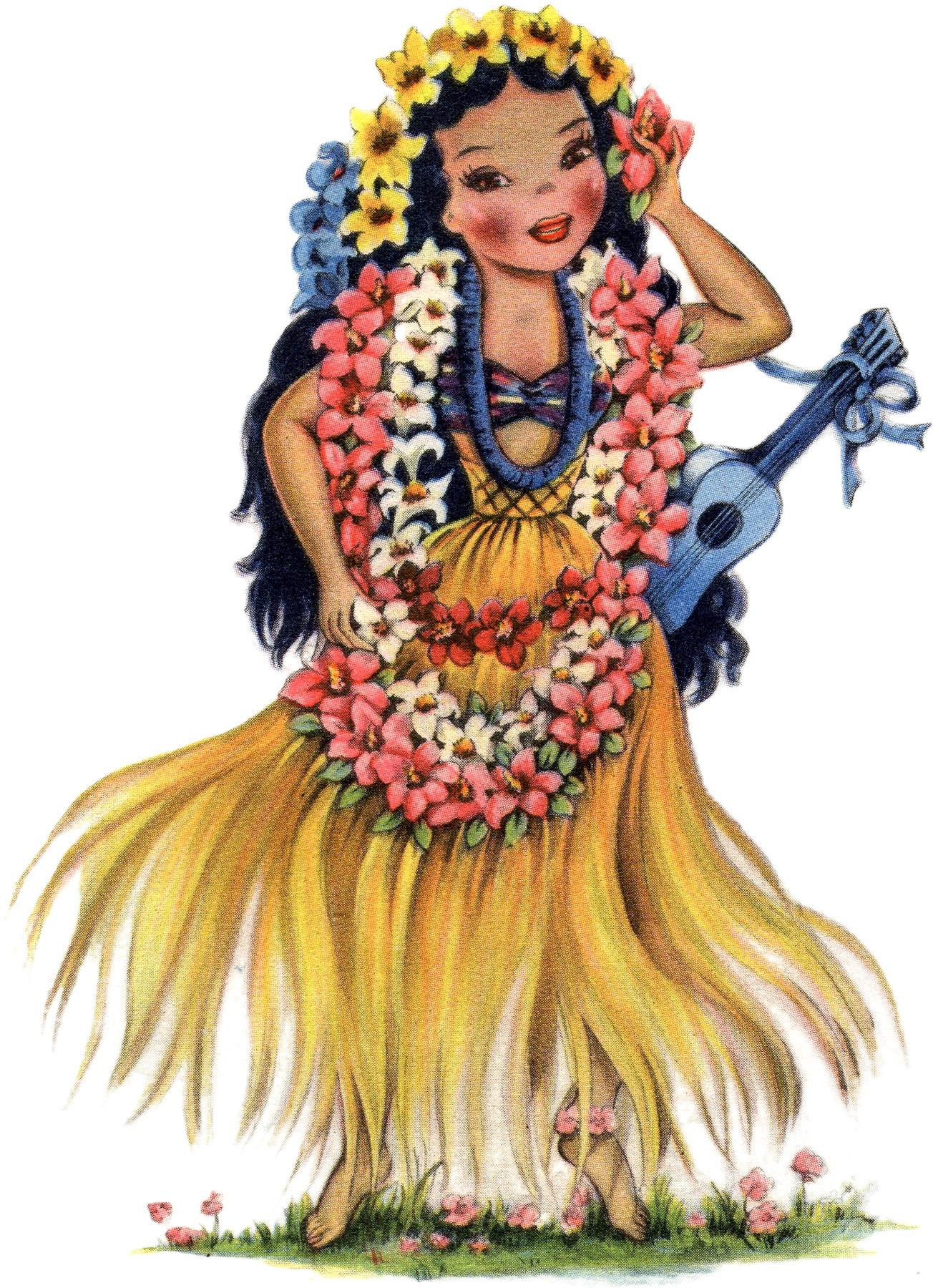 Retro Hawaiian Doll Image The Graphics Fairy