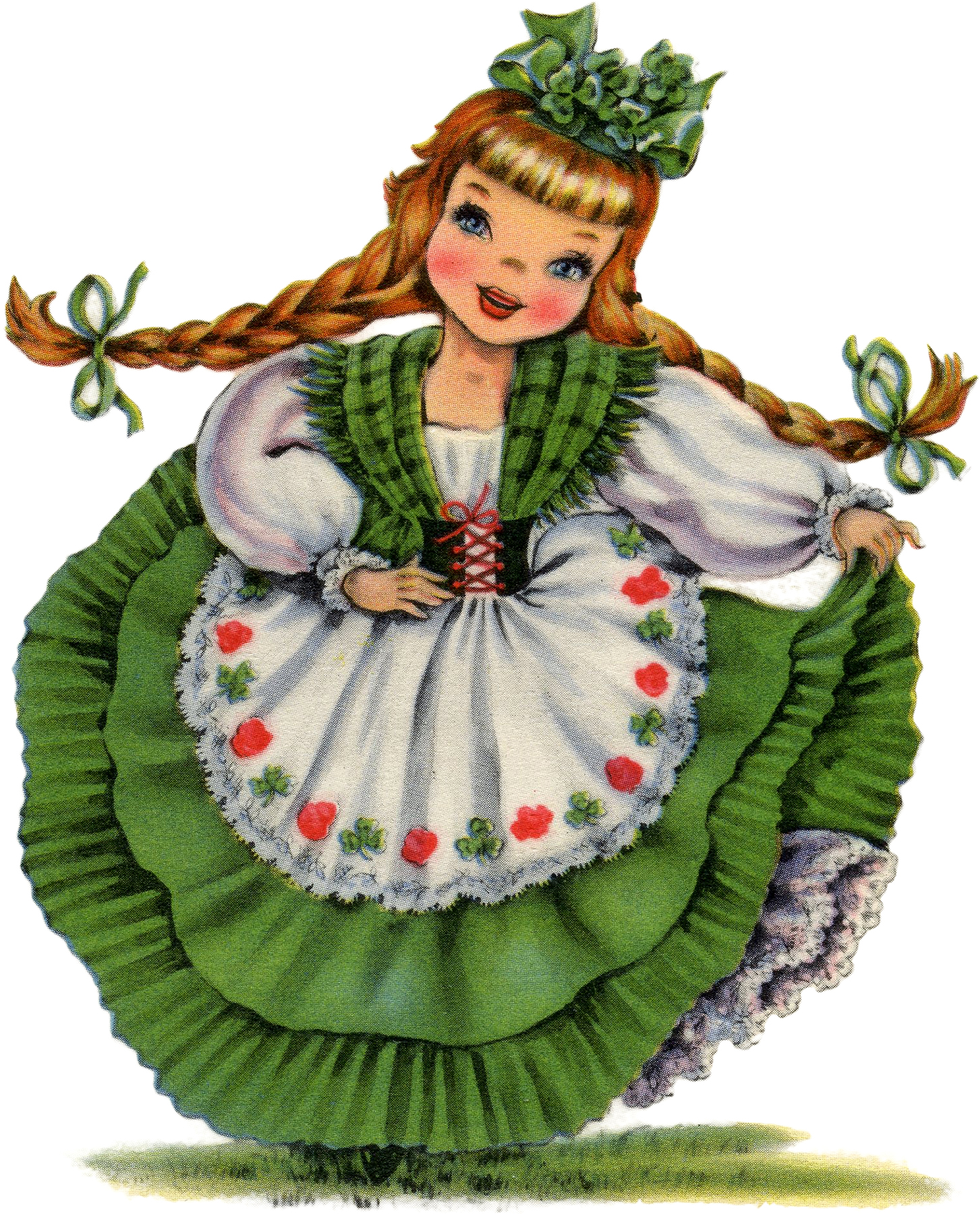 Retro Irish Doll Image St Patrick's Day Children