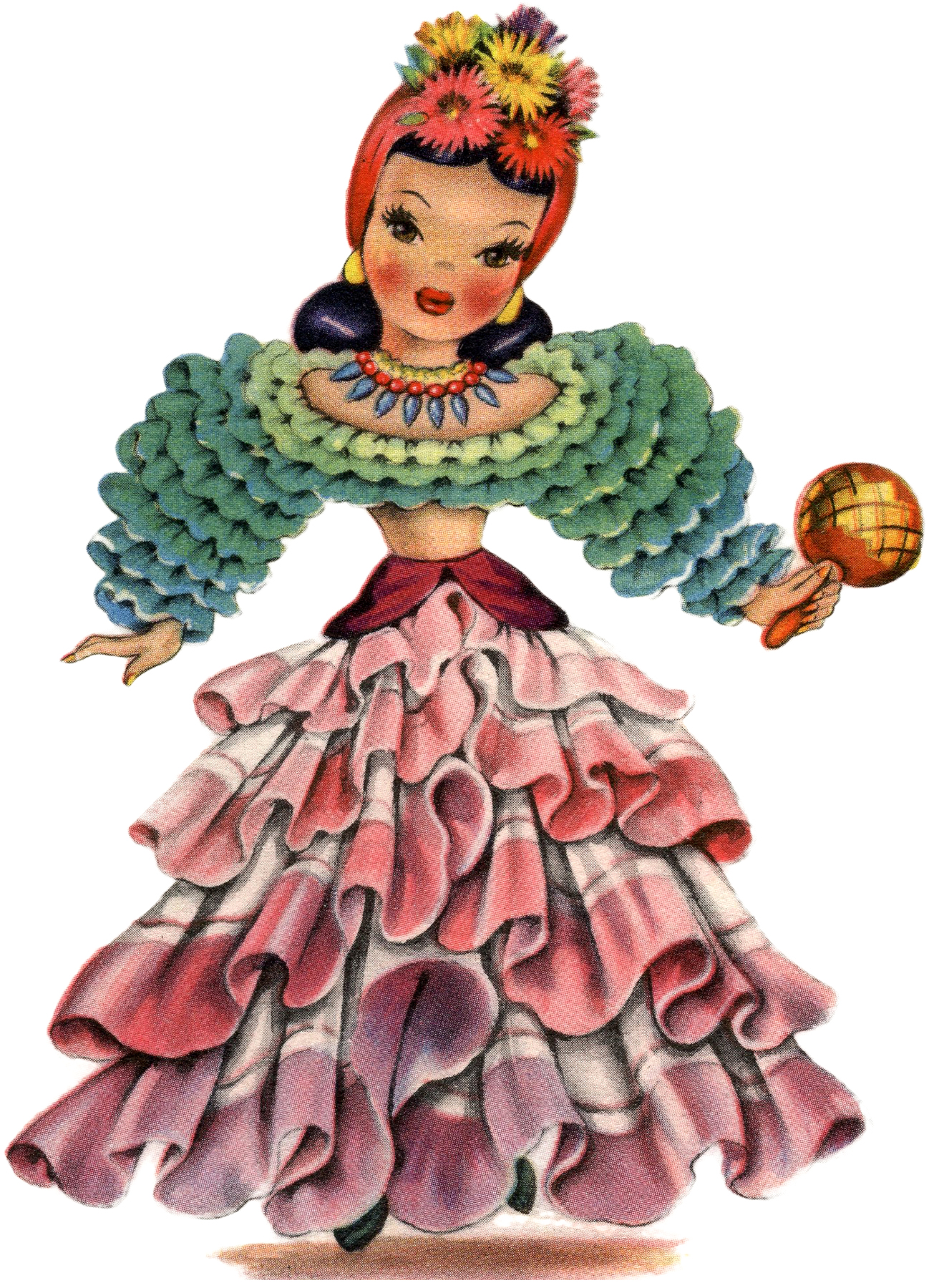 Retro Latin America Doll Image!