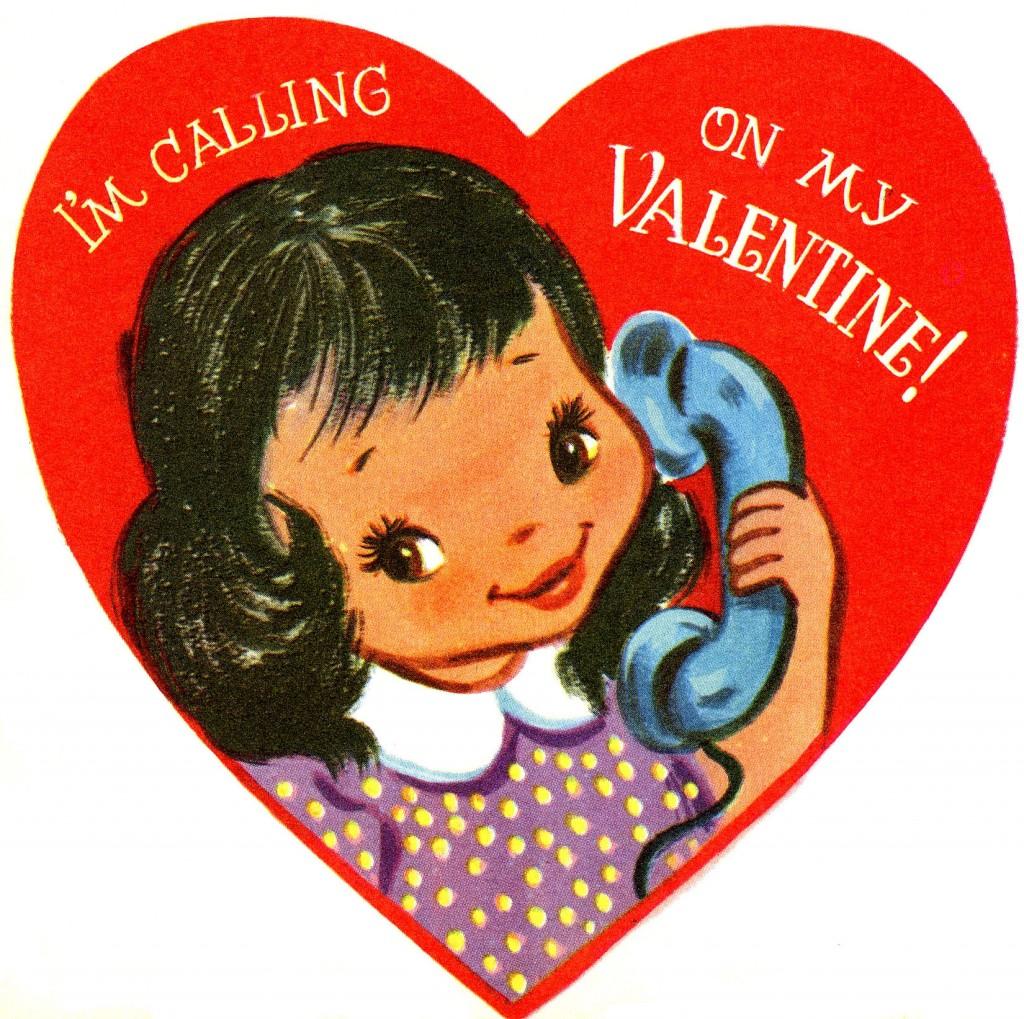 Retro Telephone Girl Valentine Image