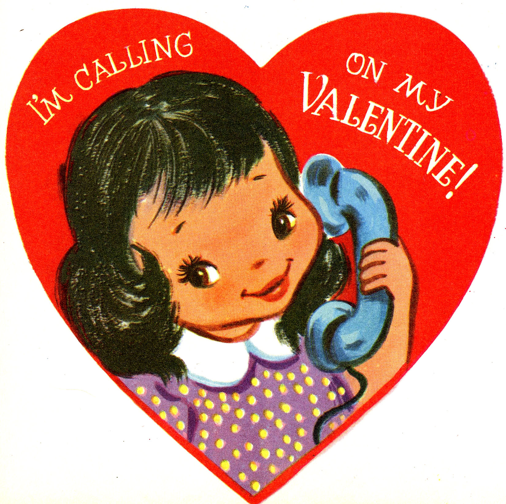 Retro Valentine Telephone Girl