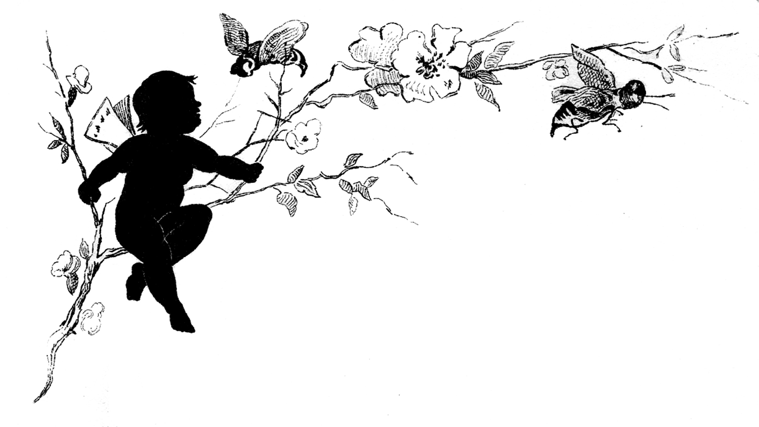Vintage Fairy Child Silhouette Image