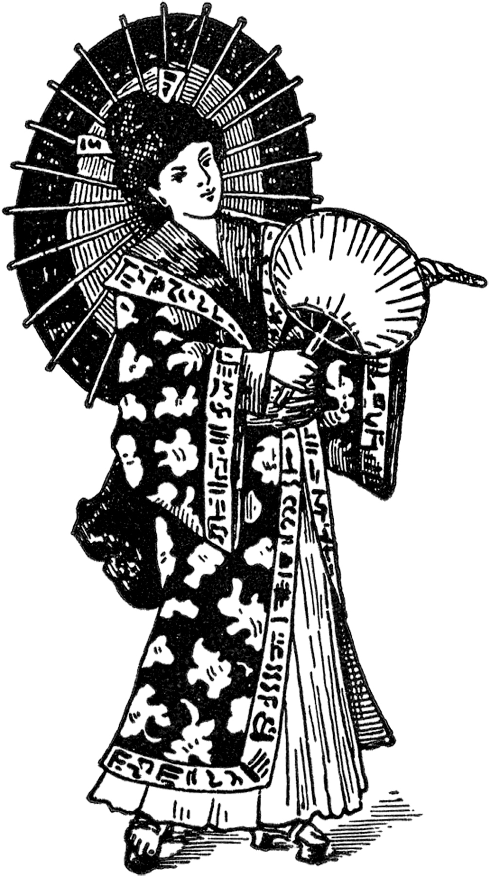 vintage geisha image the graphics fairy. Black Bedroom Furniture Sets. Home Design Ideas