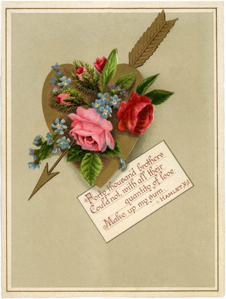Vintage Golden Heart Valentine Image