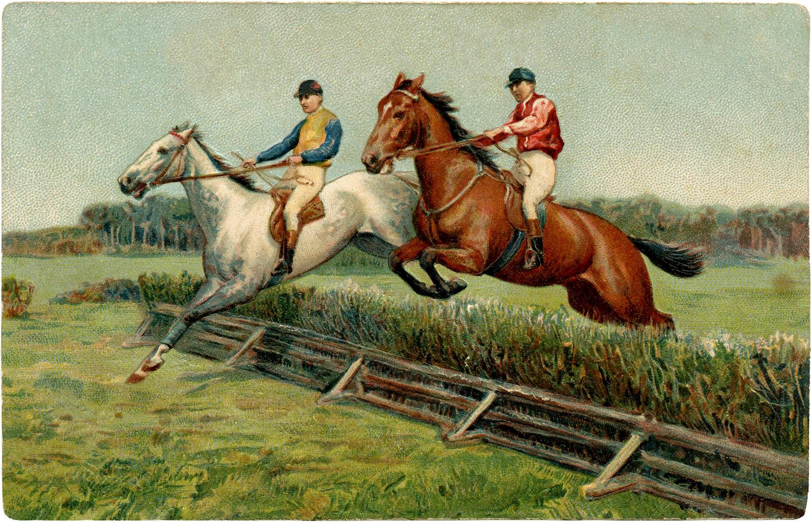 Vintage Horse Racing on Mixed Media Art Halloween