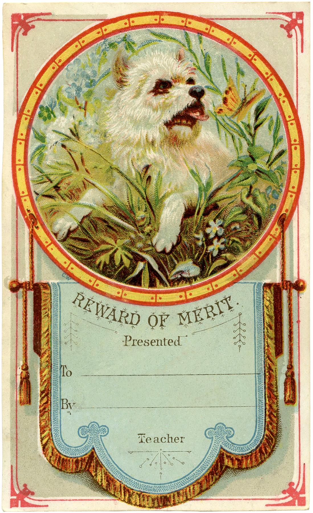 vintage reward of merit card - cute dog