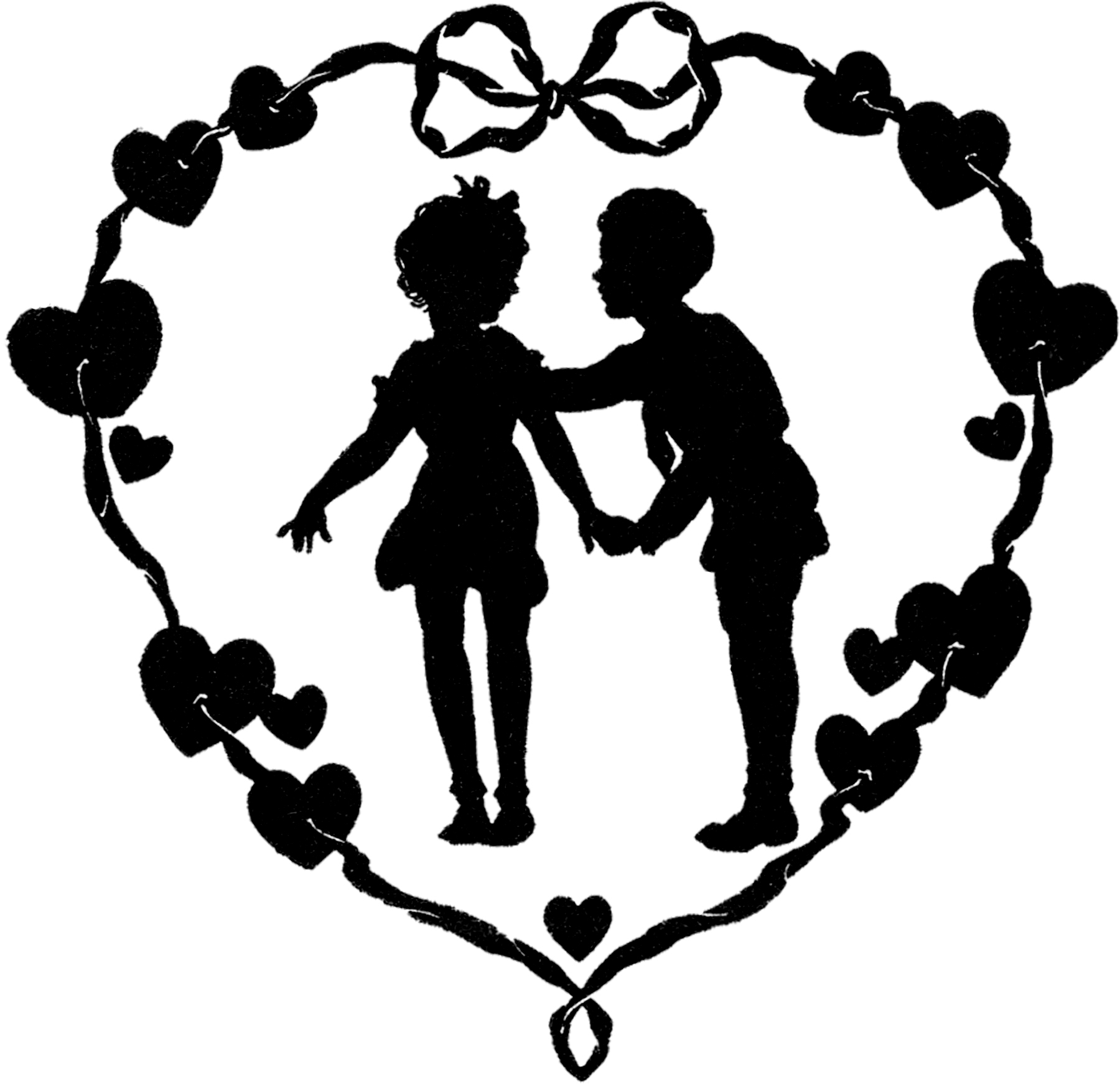 Vintage Valentine Silhouette - Cute! - The Graphics Fairy