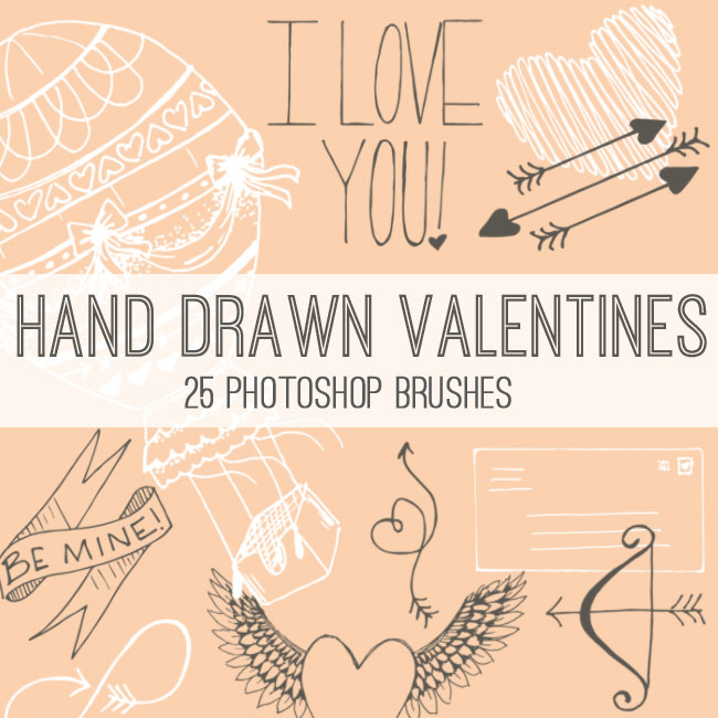 Hand Drawn Valentine Photoshop Brush Set