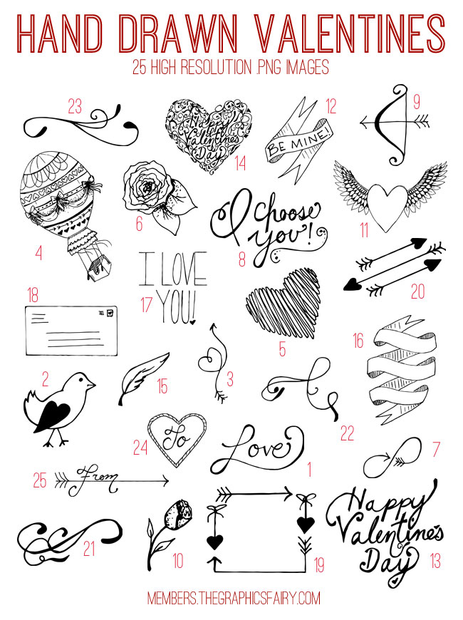 Hand Drawn Valentine Digital Elements