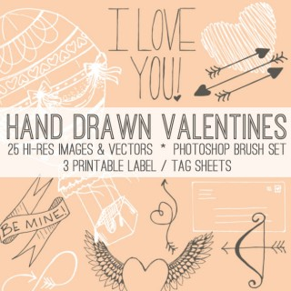 Super Pretty Hand Drawn Valentine Kit! TGF Premium