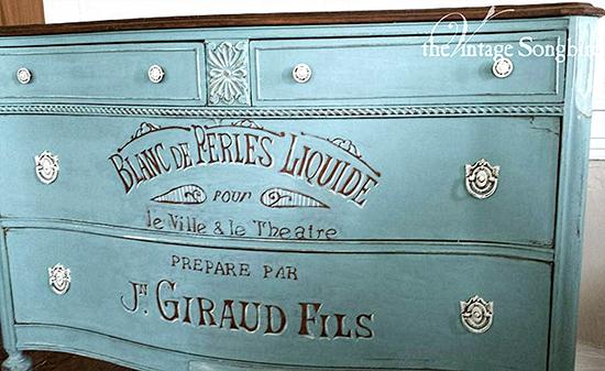 14 - Vintage Songbird - Hand Painted Dresser