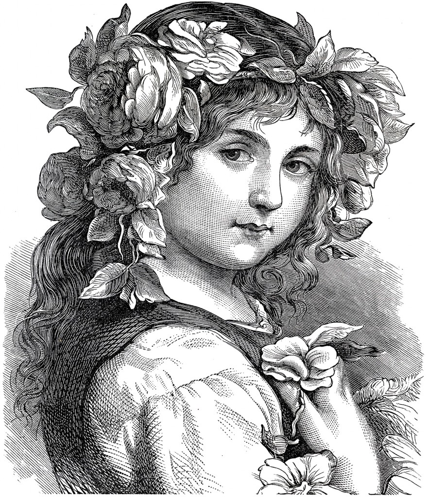 Antique Flower Girl Engraving