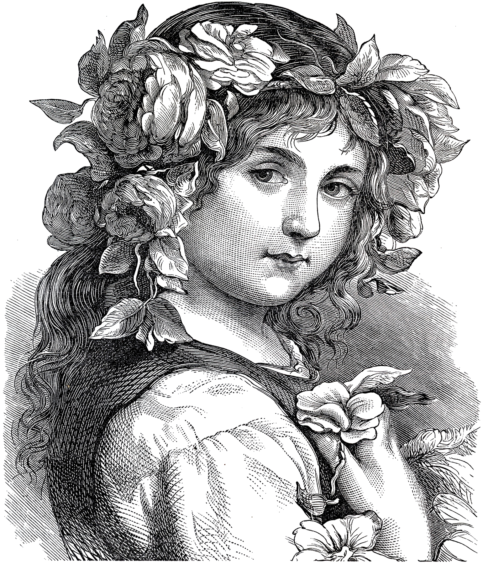 Gorgeous Antique Flower Girl Engraving The Graphics Fairy