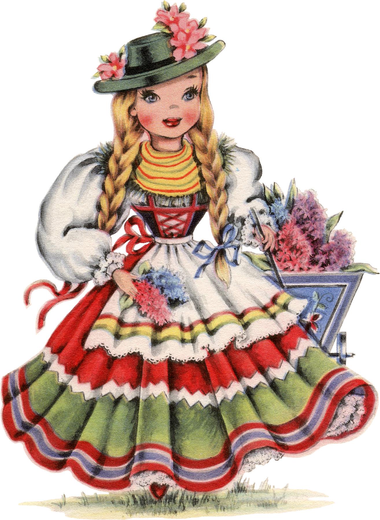 Retro German Doll Image!