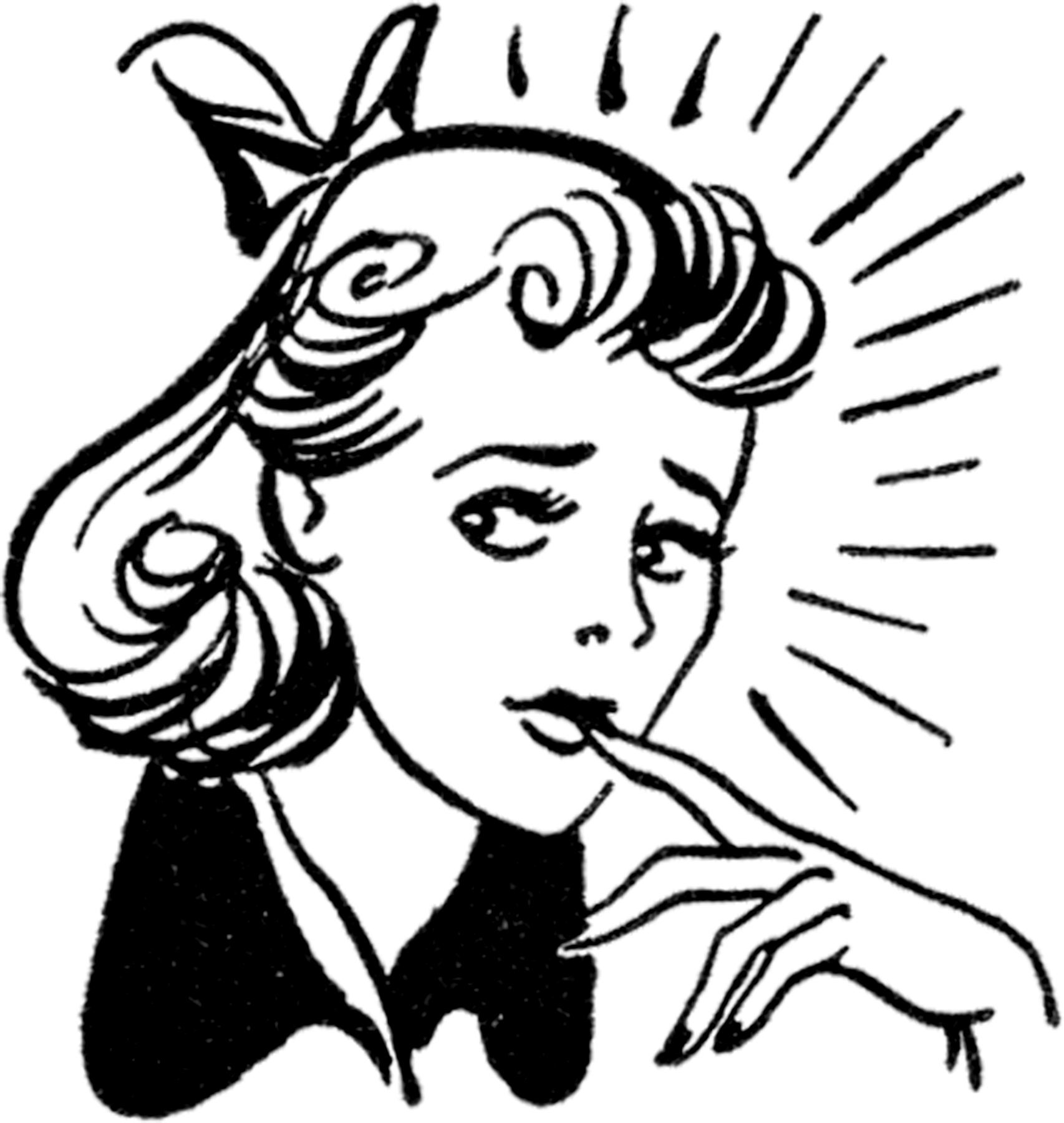 Retro Nervous Lady Image The Graphics Fairy