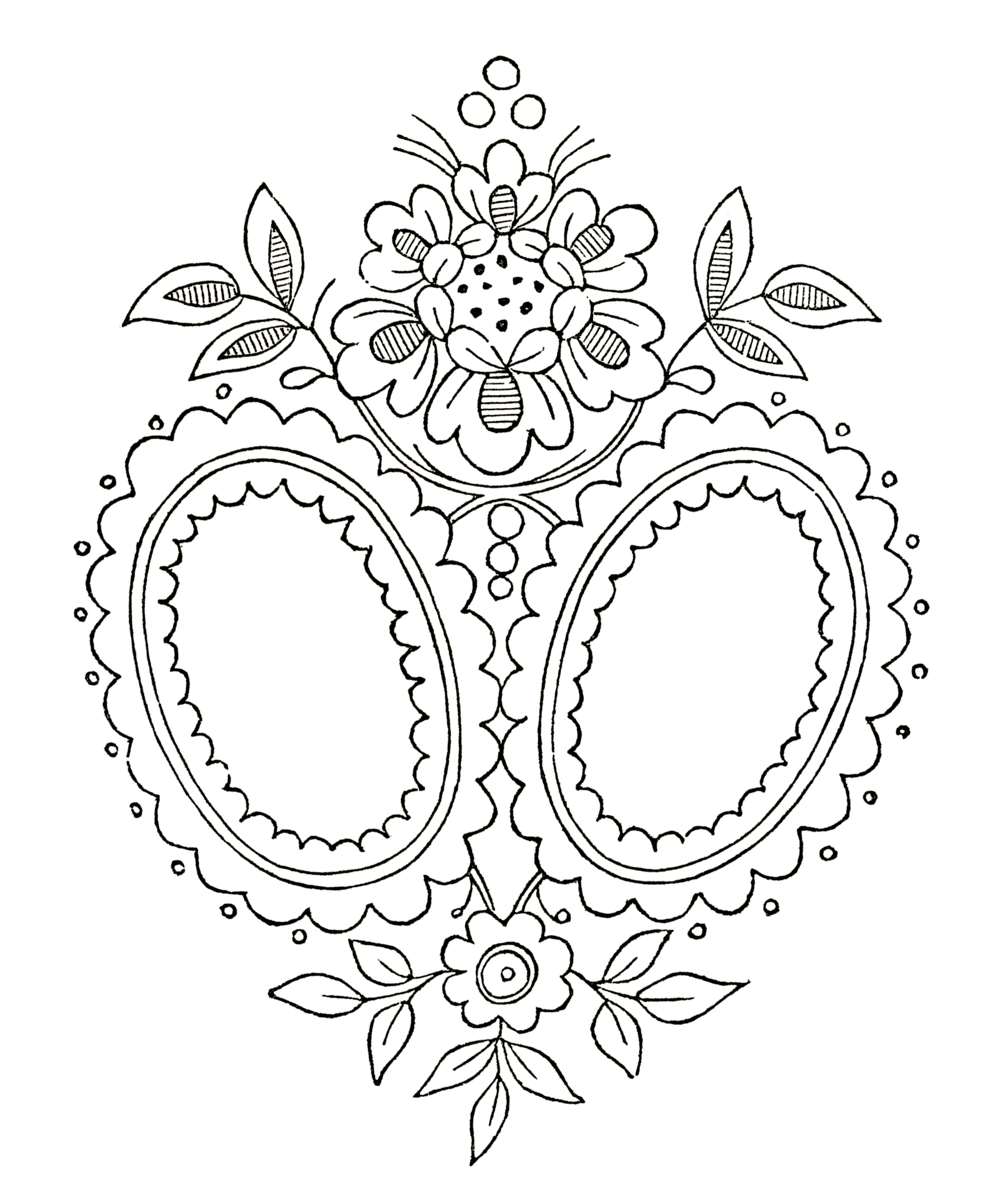 Vintage monogram embroidery pattern the graphics fairy