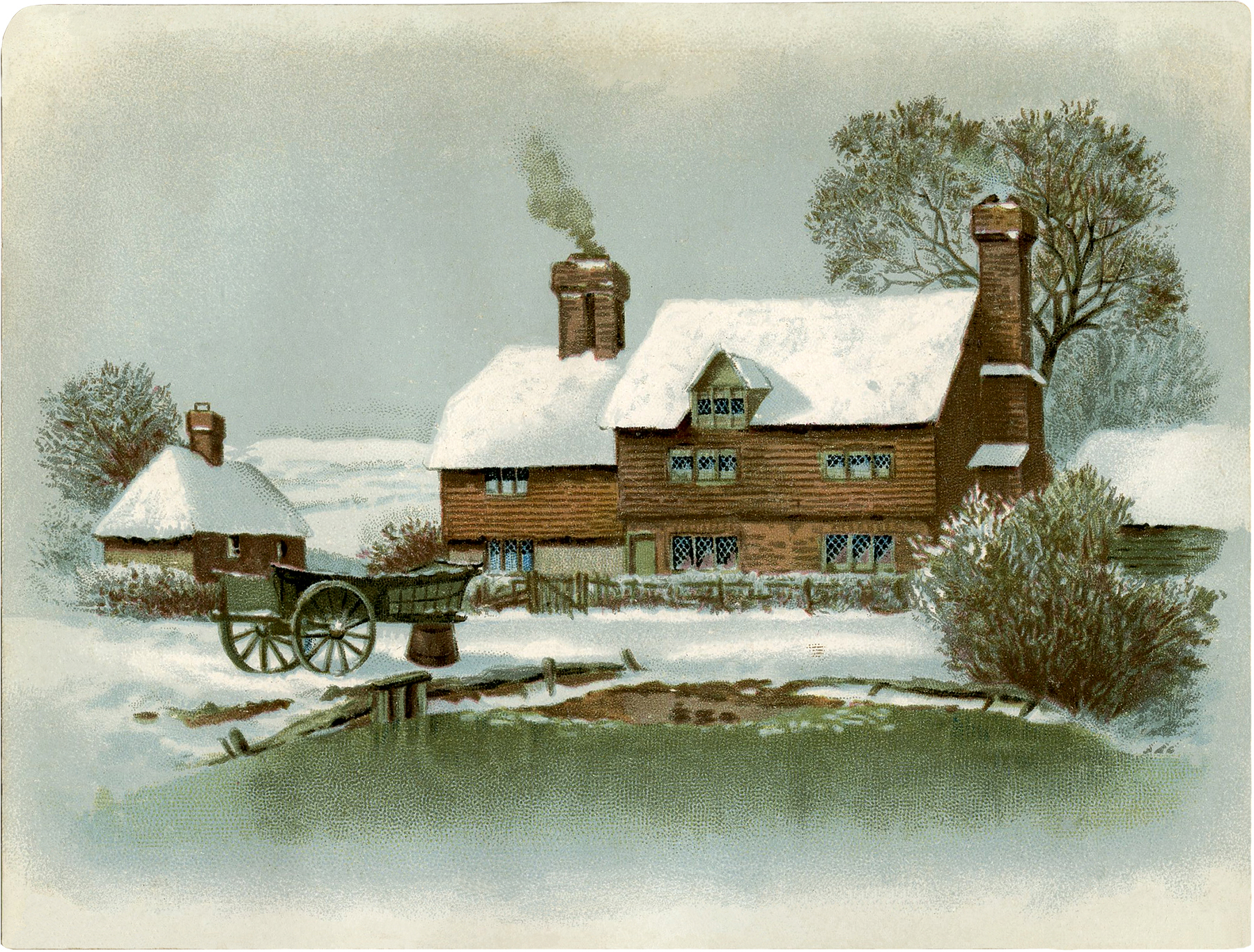 Vintage tudor cottage image winter the graphics fairy - Cottage image ...
