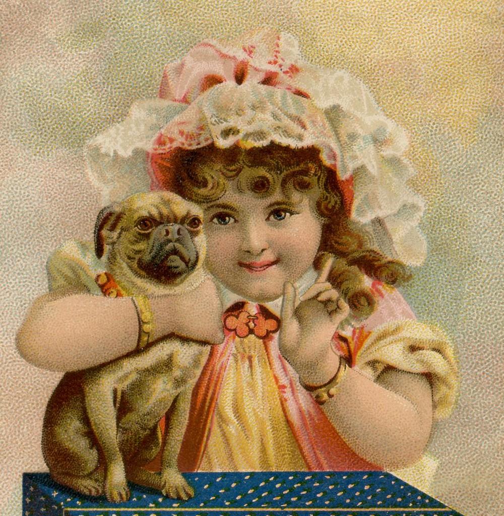 Vintage Girl with Pug Image